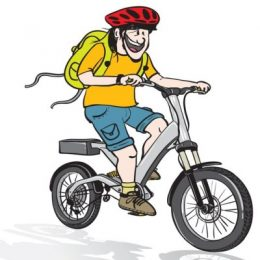11278421 - cartoon illustration of a young man riding an electric bicycle, wearing a helmet and a back pack