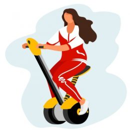 the man on the Segway. the woman on the Segway. vector image of a person on an electric vehicle